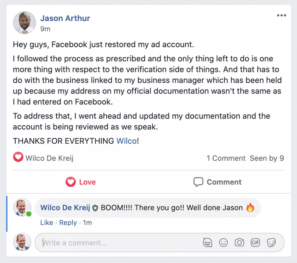 Protect your facebook ad account testimonial jason arthur