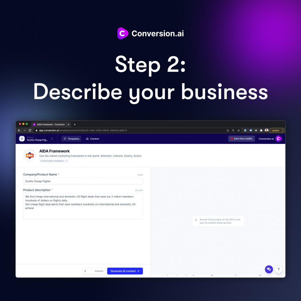Conversion.ai step 2