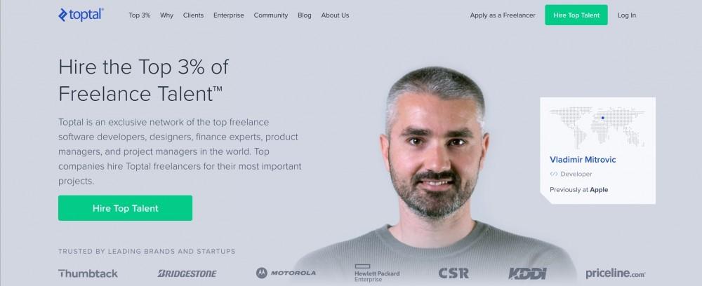 Toptal homepage image
