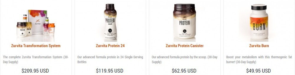 Zurvita protein and Weight Management products