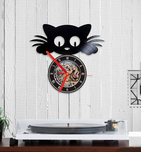 cat wall clock, for cat themed room.
