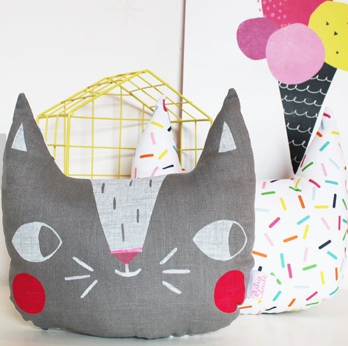 adorable cat pillows, for cat themed bedroom.