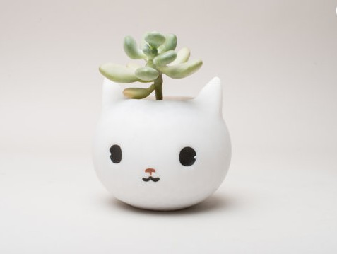 cute cat planter, for cat themed room and cat decor.