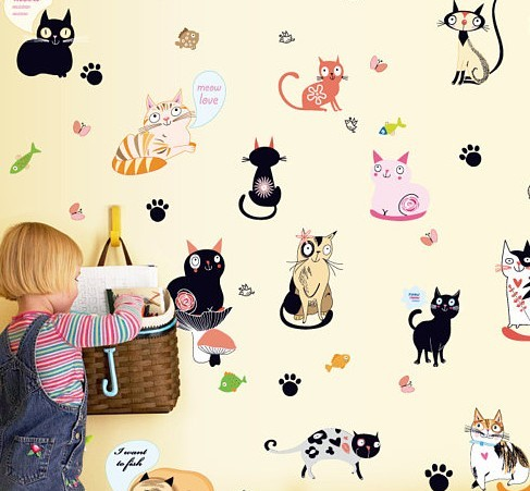 funny cat wall stickers, cat decals for cat themed room.