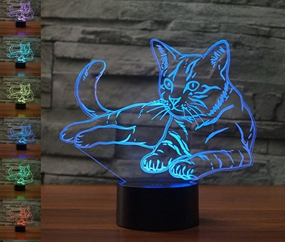 3D cat light, for cat themed room. Cat decor.