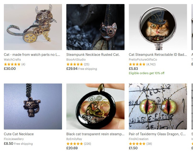 steampunk cats etsy