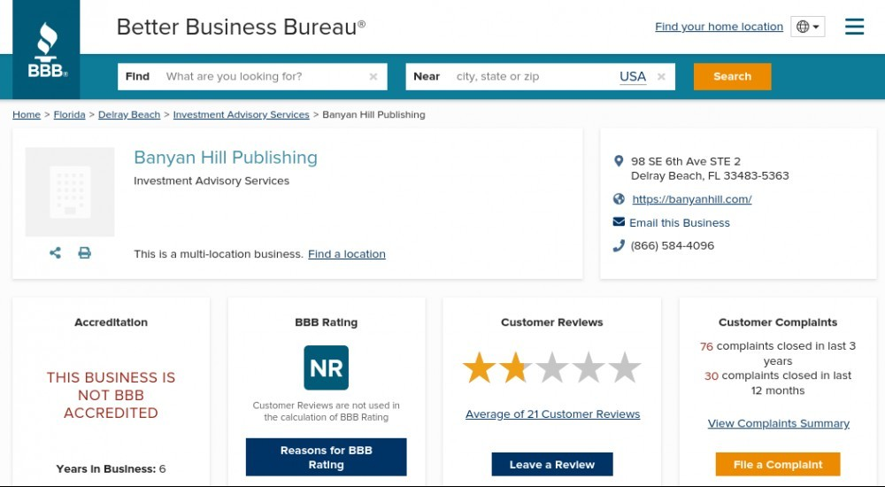 Banyan Hill Publishing BBB rating