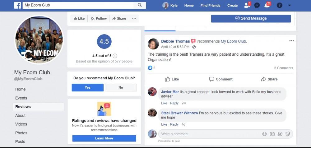 My Ecom Club Facebook Reviews