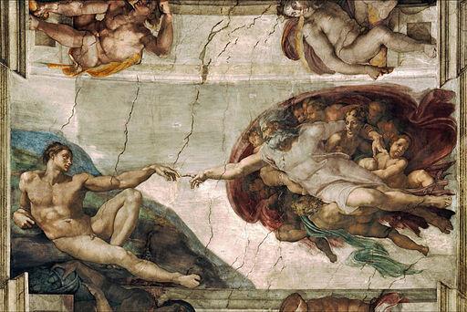 Creation of Adam Fresco on Sistine Chapel by Michelangelo