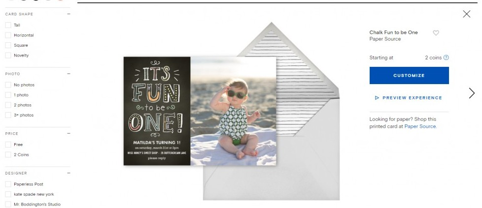 Paperless Post Baby Invitation