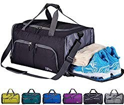CoCoMall Foldable Sports Gym Bag with Shoes Compartment & Wet Pocket, Lightweight Travel Duffel Bag (Black)