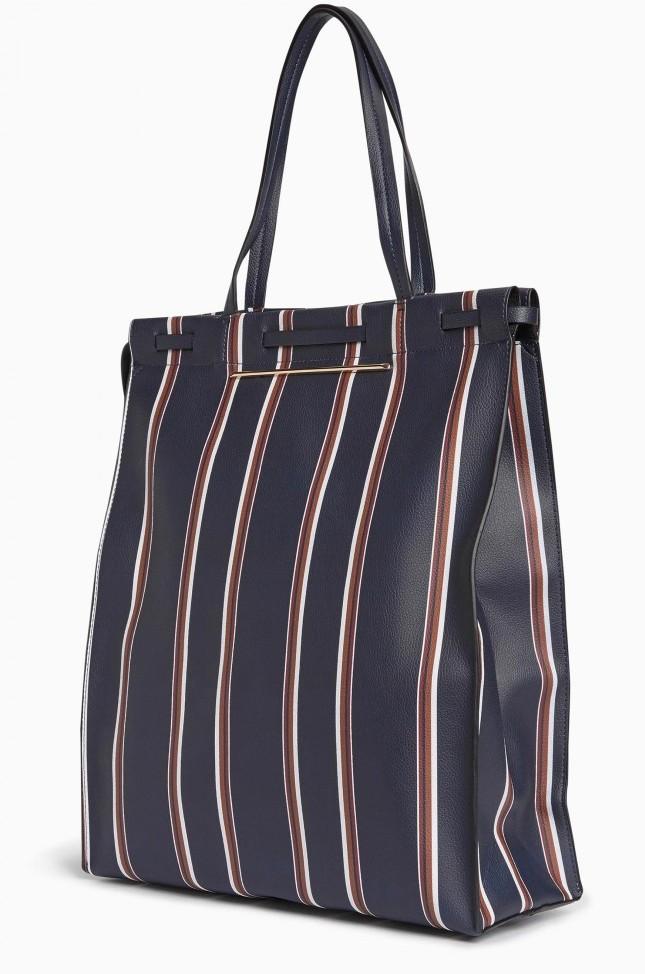 My Navy Tall Stripe Shopper Bag