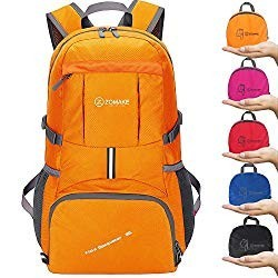 ZOMAKE Camping Backpack Hiking Daypack - Foldable backpack, Packable backpacks for Outdoor Day Hiking(Orange)