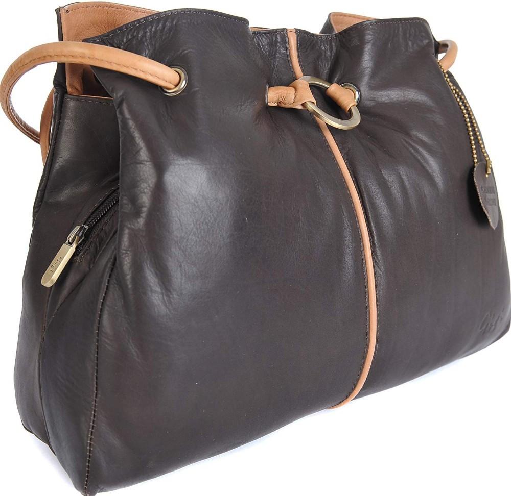 Gigi - Women's Leather Top Handle Handbag/Shoulder Bag - Othello 6165 - Black