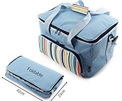 Greenfield Collection Sky Blue 30 Litre Foldable Family Cool Bag