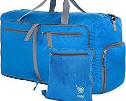 Bago Duffle Bag For Travel Luggage Gym Sport Camping - Lightweight Foldable Into Itself Duffel 27' (BLUE)
