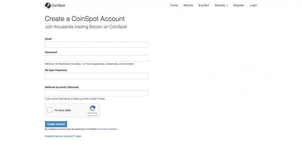 Coinspot.com.au signup link