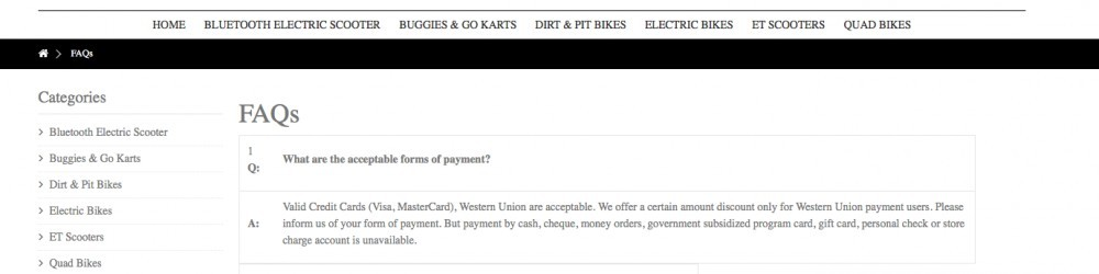 Payment at euscooters.com