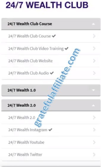 24-7 Wealth Club Menu