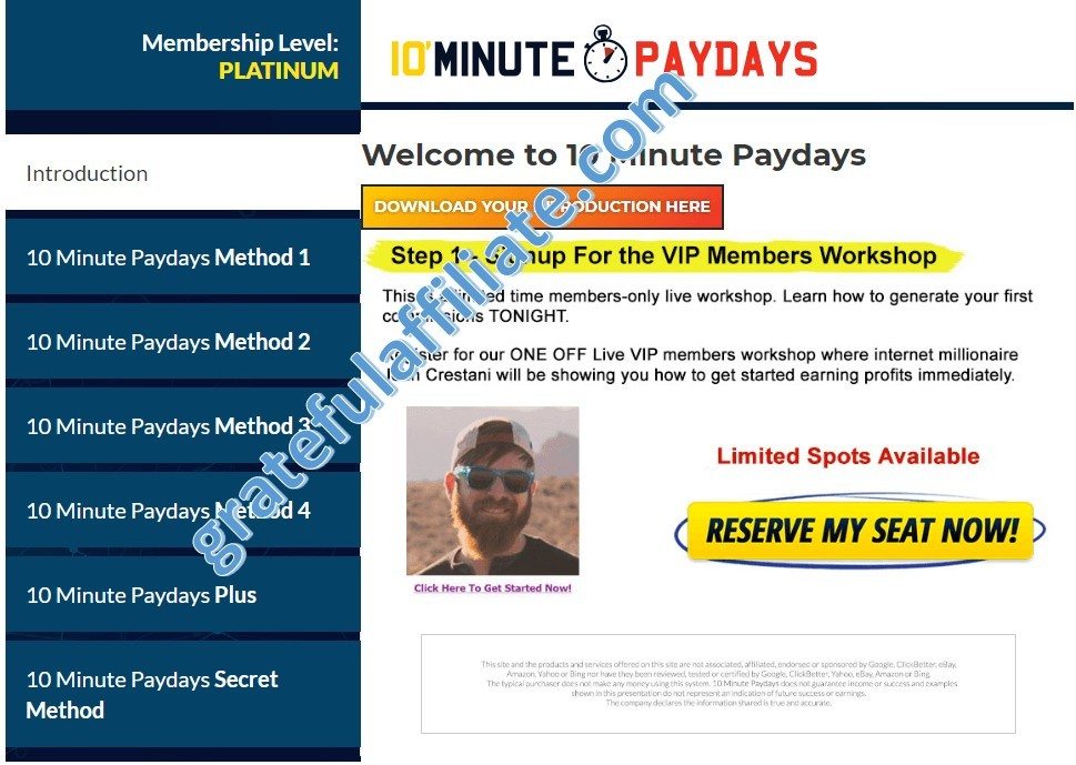 10 Minute Paydays - main menu