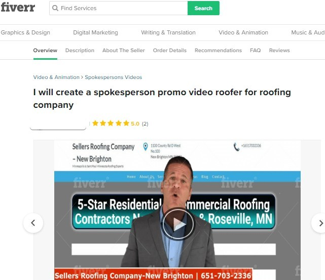 Fiverr spokesperson promo video roofer for roofing company