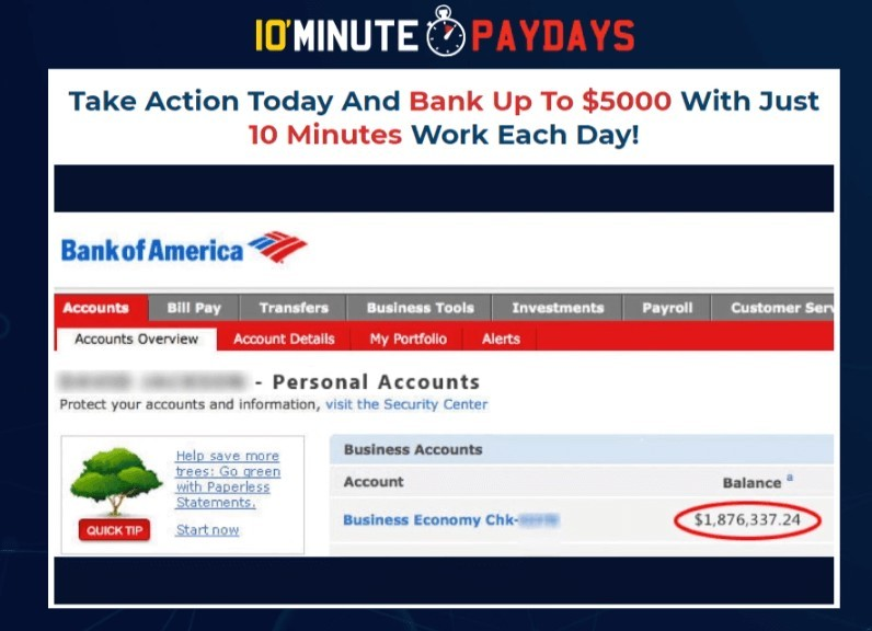 10 Minute Paydays fake bank screenshot