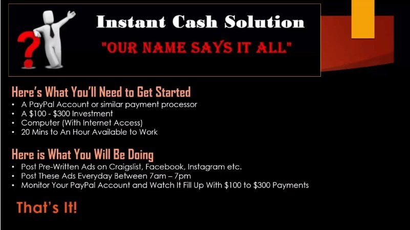 Instant Cash Solution get started