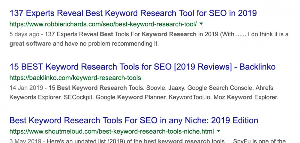 Results of searching for 'best keyword research tool