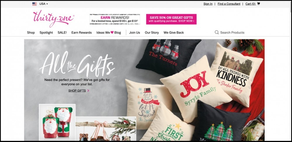 Thirty-One Gifts homepage