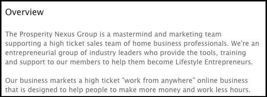 Prosperity Nexus Group LinkedIn page