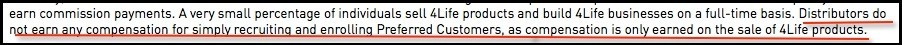 Disclaimer in the 4Life income disclosure.