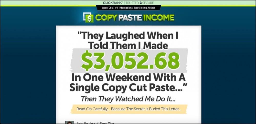 Copy Paste Income System sales page