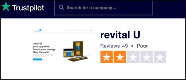 Trustpilot gives Revital U a Poor rating