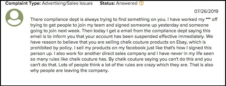 Chalk Couture complaint about the business opportunity.