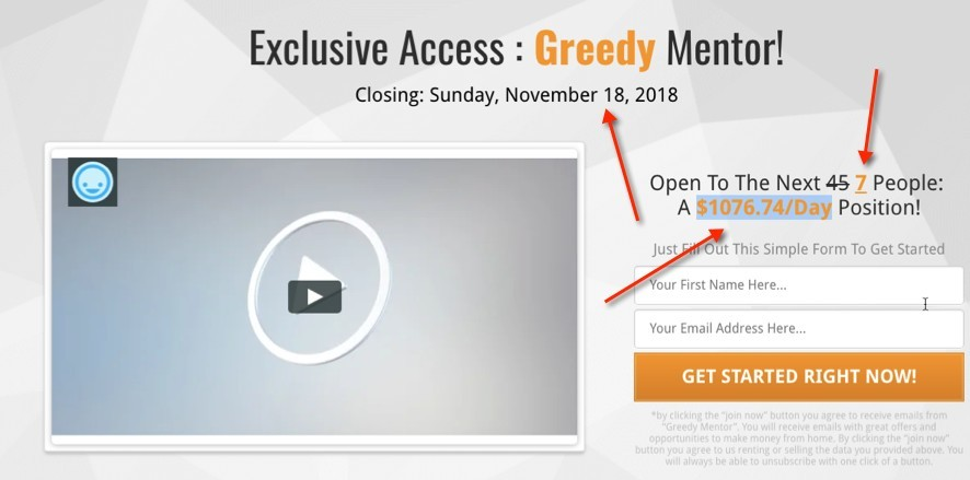 Greedy Mentor Sales Video