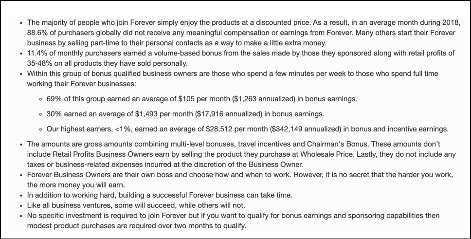 Forever Living income disclosure
