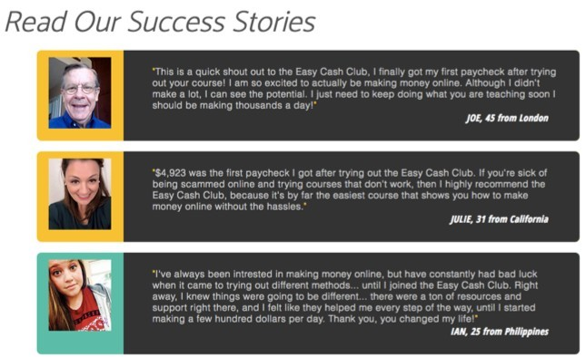 Easy Cash Club Success Stories