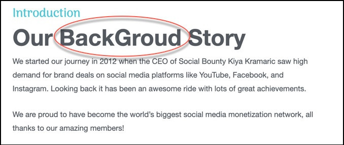 Social Bounty misspellings are a red flag.