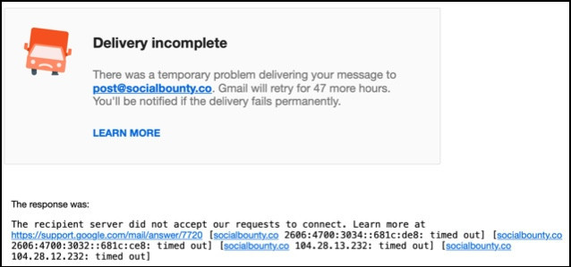 Social Bounty's email doesn't work.