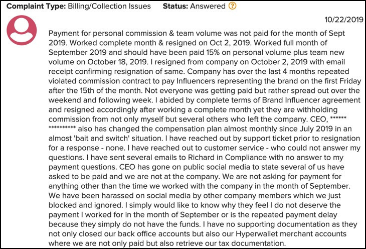 A Revital U complaint at the BBB about the business opportunity