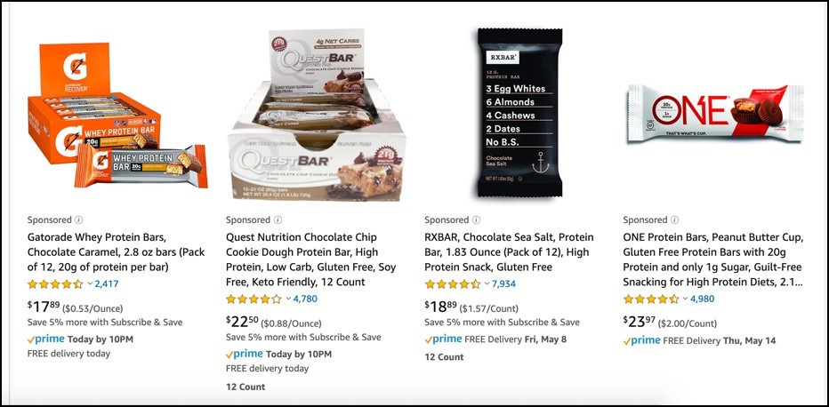 Protein Bars from Amazon
