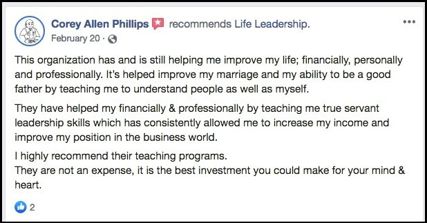 Positive review for Life Leadership from Facebook