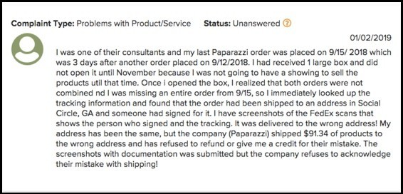 Paparazzi Jewelry complaint.