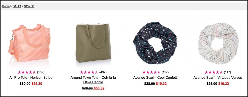 A few products sold on Thirty-One's website