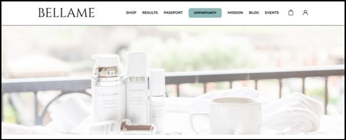 Bellame homepage.