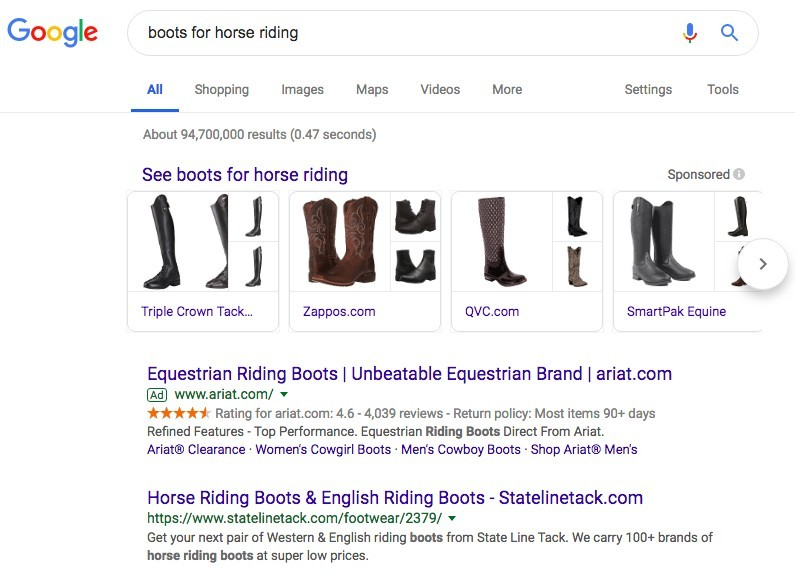 Google Search results for boots for horse riding