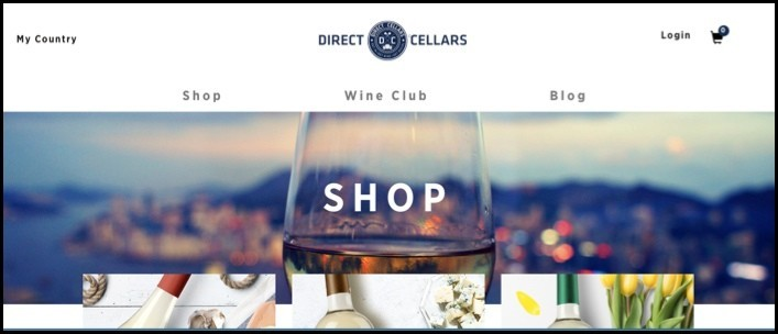 Direct Cellars homepage.