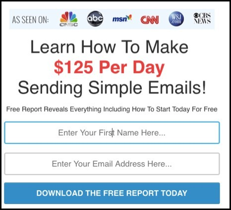 Email lead capture page