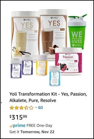 Yoli products on Amazon.