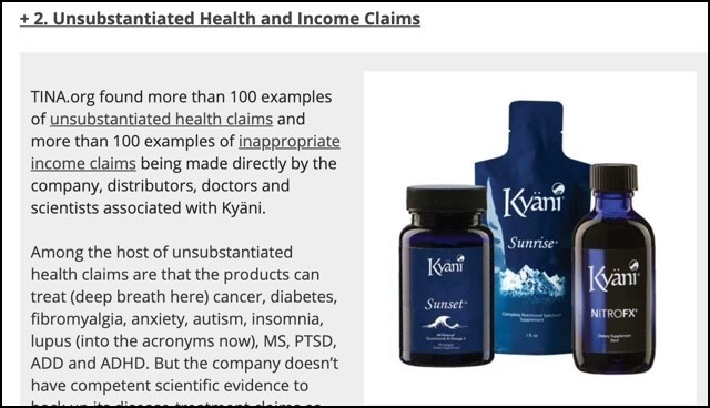Kyani's unsubstantiated health and income claims.